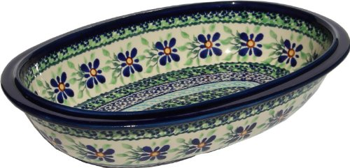 Polish Pottery Oval Serving Dish From Zaklady Ceramiczne Boleslawiec 278-du121 Unikat Pattern Length 975 Width 625 Depth 2