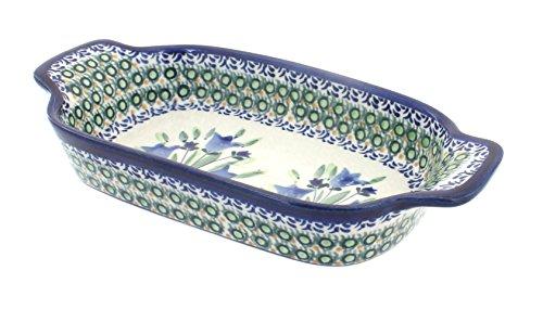 Polish Pottery Blue Tulip Rectangular Serving Dish