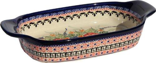 Polish Pottery Rectangular Serving Dish From Zaklady Ceramiczne Boleslawiec 1281-149 Art Unikat Signature Pattern Length 10 Width 525