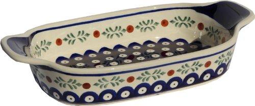 Polish Pottery Rectangular Serving Dish From Zaklady Ceramiczne Boleslawiec 1281-242 Length 10 Width 525