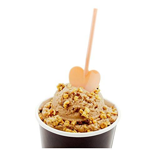 Heart Shaped Spoon Love Shovel Spoon Disposable Mini Plastic Tasting Spoon - 35 - Coral Pink - 100ct box - Restaurantware