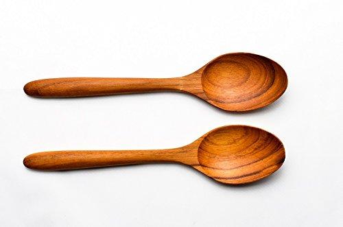 KuuTeaK 8 Inch Teak Wood Soup Spoon Hand Craft Wooden Soup Spoon Tableware Flatware Wooden Kitchen utensils Pack of 2