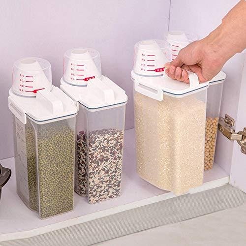 Rice Containers 2L Storage Box Plastic Cereal Dispenser Storage Box Kitchen Food Grain