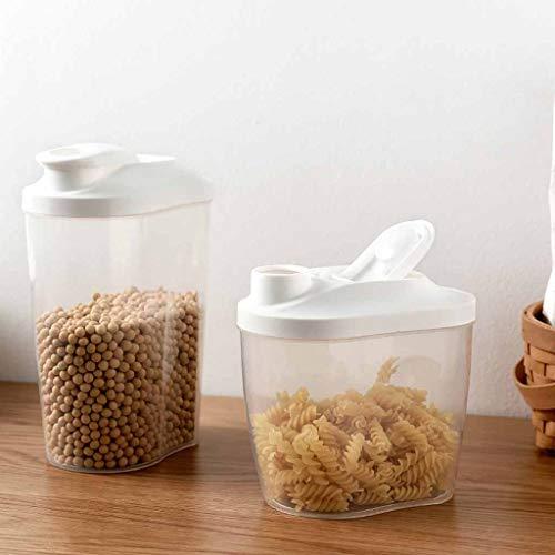 SAQIMA 2PCS Portable Plastic Food Storage Box Plastic Cereal Dispenser Storage Box Kitchen Food Grain Rice Container Nice