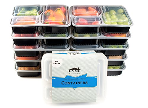 HYME 3 Compartment 10 Pack Food Storage Containers Microwave safe Stackable With Lids