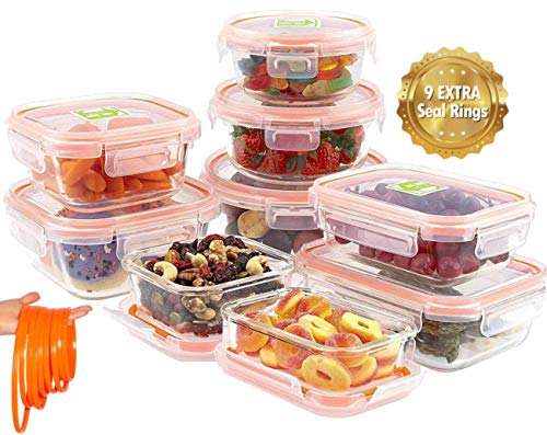 Jina Home Glass Food Storage Containers 18 pcs   Leakproof and Airtight Glass Set  Meal Prep Containers with 9 Extra Replaceable Silicon Rings  BPA Free FDA Approved