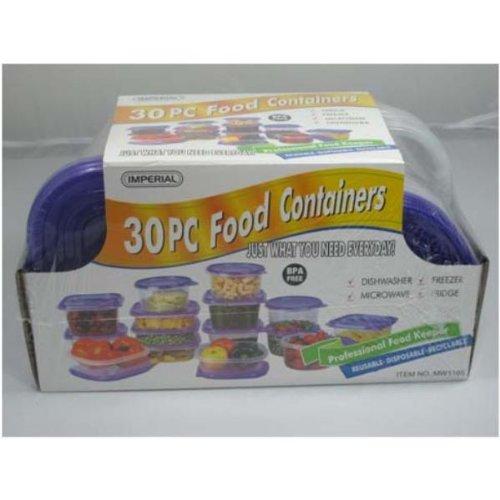30 PC Plastic Container SetShrink Wrap - Purple Case Pack 12 Home Kitchen Furniture Decor