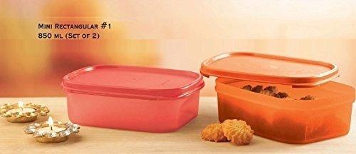 Tupperware Mini Rectangular Plastic Container Set 850Ml Set Of 2 Multicolour