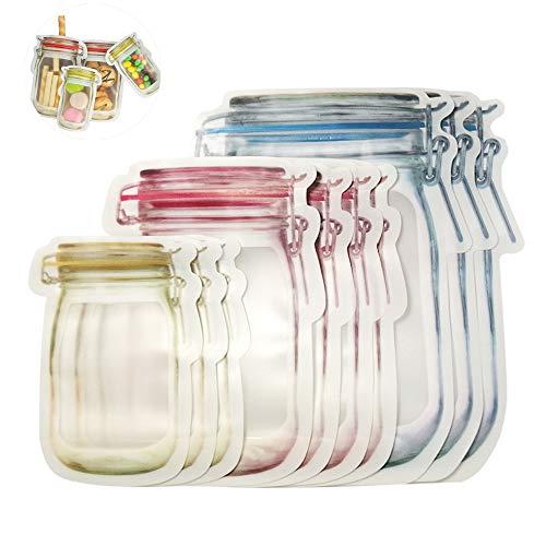 Anbibo Seal Bags10pcs Reusable Mason Jar Bottles Bags Portable Ziplock Bag Fresh Food Storage Bag Kitchen Organizer