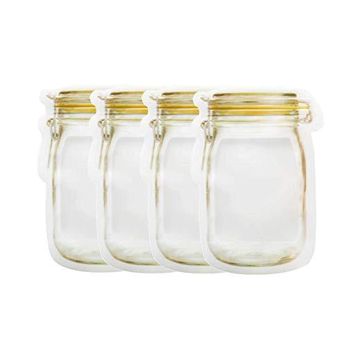 Portable Silicone Storage Bag - Reusable Ziplock Household Sealed Transparent Food Snacks Moisture Proof Fresh-Keeping Bag
