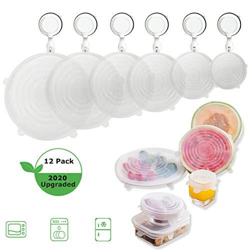 Silicone Lids for Fresh Food StorageReusable Stretch Bowl Cover 6 Sizes Seal Lids for BowlsCupsFruits ContainerDishwasher Freezer SafeClear1 Dozen 12PCS CLEAR