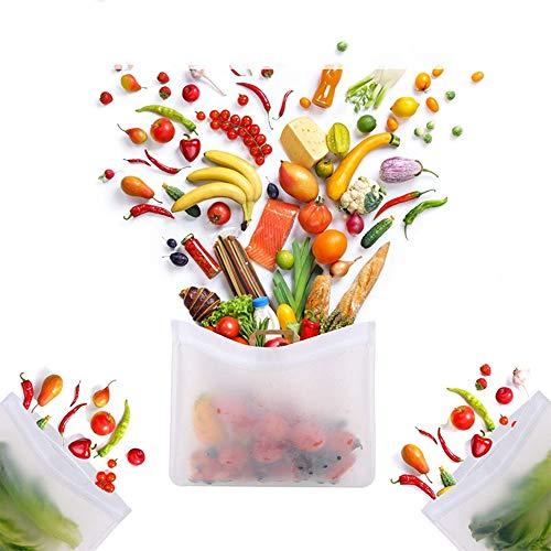 maggiesee 3pcsSet Silicone Reusable Food Bag Leakproof Storage Ziplock Freezer Containers for Fresh FruitVegetableLiquidMeatSandwich