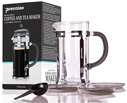 French Press Coffee Maker - 20 oz Espresso and Tea Maker with Triple Filters Stainless Steel Plunger and Heat Resistant Borosilicate Glass with 6 Bonus Filters - by Procizion