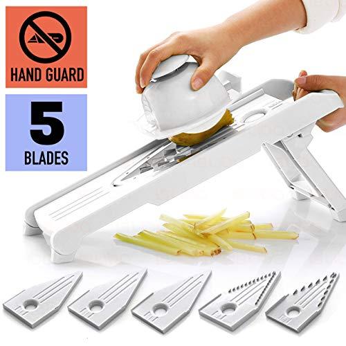 Mandoline Slicer w 5 Adjustable Blades - Vegetable Slicer - Food Slicer - Vegetable Cutter - Cheese Slicer - Vegetable Julienne Slicer with 5 Surgical Grade Stainless Steel Blades White