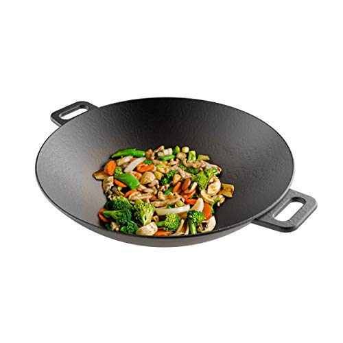 Cast Iron Wok-14 Pre-Seasoned Flat Bottom Cookware with Handles-Compatible with Stovetop Oven Induction Grill or Campfire by Classic Cuisine