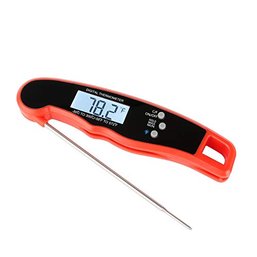CAOASIS Grill Meat ThermometerDigital Waterproof Electric Kitchen Probe Food Thermometer with Stainless Foldaway Probe for Grill and Cooking BBQ Drinking