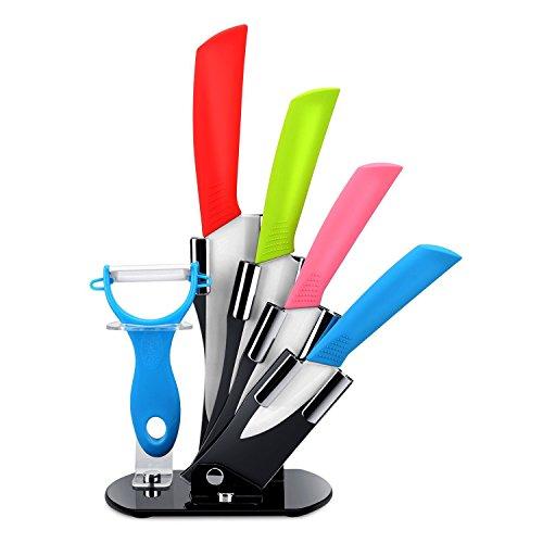 StillCool Ceramic Knife Set 6 Piece Kitchen Knife Set and Vegetable Peeler Set with Adjustable Holder Stand 6