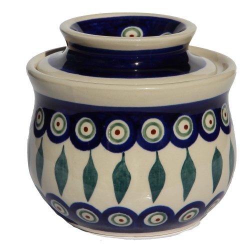 Polish Pottery French Butter Dish From Zaklady Ceramiczne Boleslawiec 1512-56 Peacock Pattern