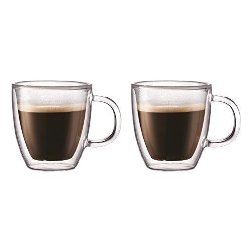 Bodum BISTRO Coffee Mug Double-Wall Insulated Glass Espresso Mugs Clear 5 Ounces Each Set of 2
