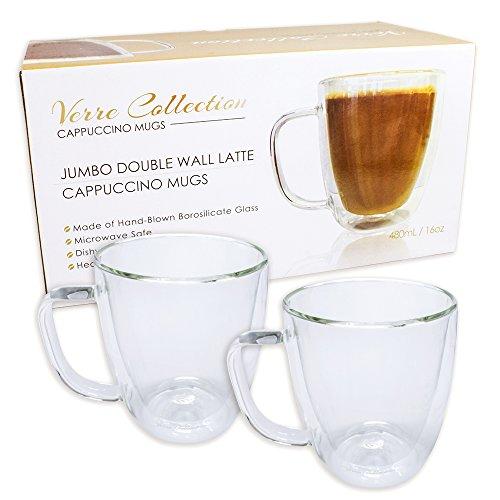 Double Wall Glass Espresso Latte Cappuccino Mug Coffee Cup  Set of 2 2 16 oz