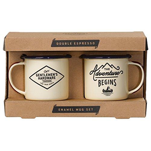 Gentlemens Hardware Adventure Enamel Espresso Mug Set Cream 5 Ounces