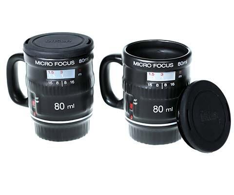 Micro Focus Camera Lens Espresso Mug Set -- Includes 2 Espresso Mugs