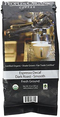 Peoples Organic Coffee Decaf Espresso Dark Roast Ground - 10 Ounce