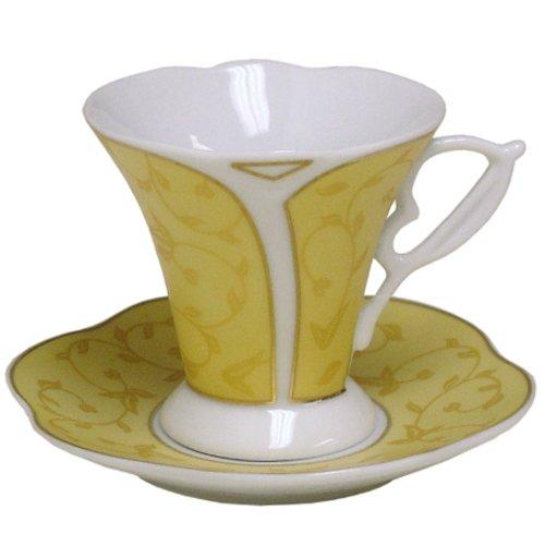 Gold Vine Porcelain 12pc Espresso Demitasse Cup Set