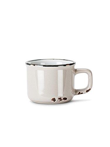 Set 6 Pieces 3 Stoneware Grey Enamel-Look 3oz  Espresso Demitasse Cup Mug