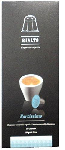 RIALTO EXPRESSO Fortissimo Espresso Coffee Capsules Compatible Nespresso Pack Of 10