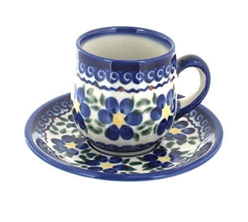 Polish Pottery Spring Blossom Espresso Cup Saucer