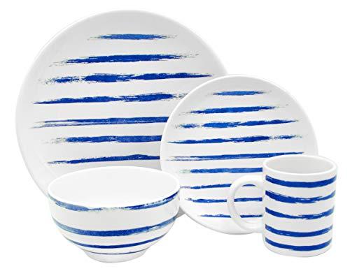 Melange Porcelain 32-Piece Dinnerware Set  Indigo Lines Collection  Service for 8 Microwave Dishwasher Oven Safe  Dinner Plate Salad Plate Soup Bowl Mug 8 Each