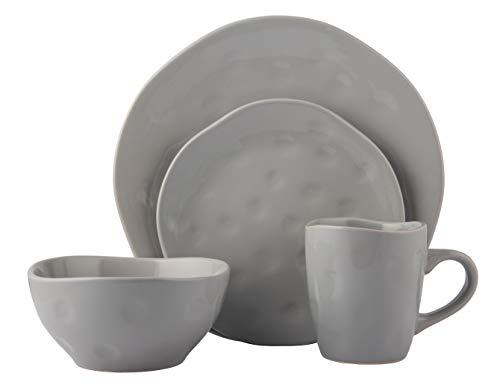 Melange Stoneware 32-Piece Dinnerware Set  Irregular Shape Collection  Service for 8  Microwave Dishwasher Oven Safe  Dinner Plate Salad Plate Soup Bowl Mug Grey 8 Each