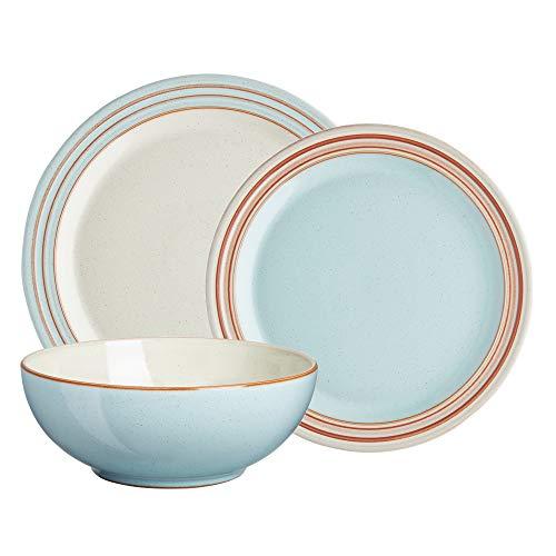 Denby PAV-12PC HERITAGE-PAVILION BLUE 12PPS Dinner Salad Plate Cereal Bowl Dinnerware Set One size
