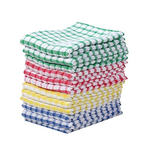 "Square Kitchen Dish Cloth Sets Scrubbing Dishcloth 100 Cotton 11""x17 12pcsMix color"