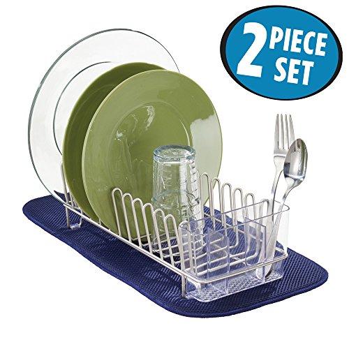 mDesign Kitchen Dish Drying Set Compact Dish Drainer Absorbent Dish Drying Mat - Set of 2 SatinNavy Blue