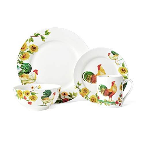 Pfaltzgraff 5135558 Rooster Meadow 16-Piece Dinnerware Set Assorted