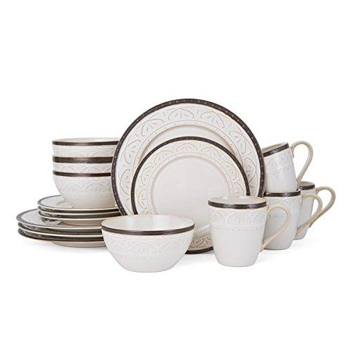 Pfaltzgraff 5217017 Promenade Scroll Dinnerware Set White