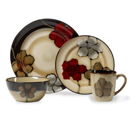 Pfaltzgraff Painted Poppies 16-Piece Stoneware Dinnerware Set Service for 4