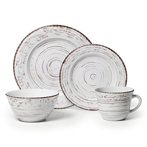 Pfaltzgraff Trellis White 16-Piece Stoneware Dinnerware Set Service for 4