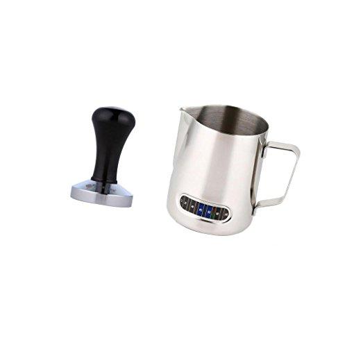 MonkeyJack Latte Milk Tea Frothing Jug Garland Cup Jug w Thermometer  Coffee Tamper
