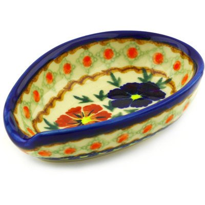 Polish Pottery Spoon Rest 5-inch Paradise Poppy UNIKAT