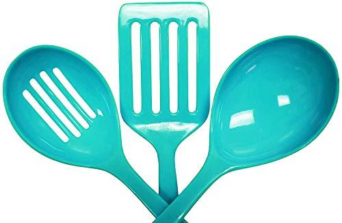 3 Piece Melamine Kitchen Tool Set - Slotted Turner Slotted Spoon Basting Spoon Light Blue