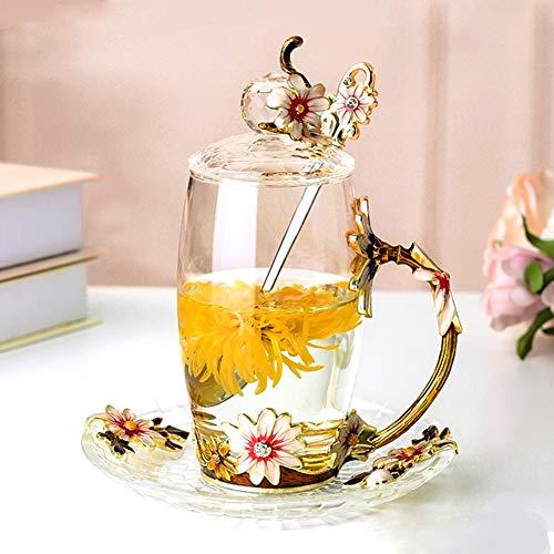 Creative Coffee Mug,glass Mug Tea Mug Heat-resistant With Spoon Light Luxury Cup Breakfast Cup Travel Mug Retro For Living Room Gift-d
