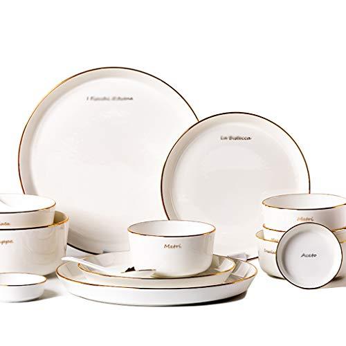 Porcelain Soup Bowl Western Plate -2039 Piece Set - including bowls plates plates spoons light and fragile golden lace