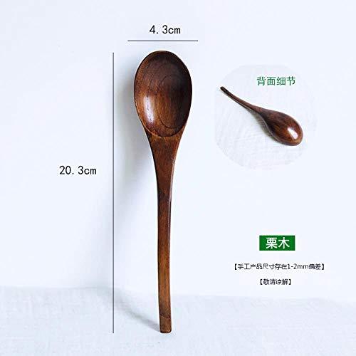 Wooden tableware long handle stirring spoon solid wood large spoon wooden spoon coffee spoon light brown 32 spoon
