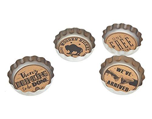 Godinger Beer Bottle Cap Coasters Set of 4 for Drinks - Desktop Protection Prevent Furniture Damage - Tabletop Drink Coasters