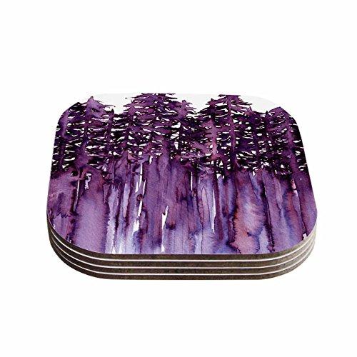 KESS InHouse Ebi Emporium Forest Through The Trees 2 Purple White Coasters Set of 4 4 x 4 Multicolor