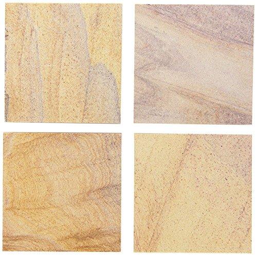 INA KI Natural Sandstone Coaster with Anti-Skid Cork Bottom - Set of 4 For home Kitchen Bath Spa
