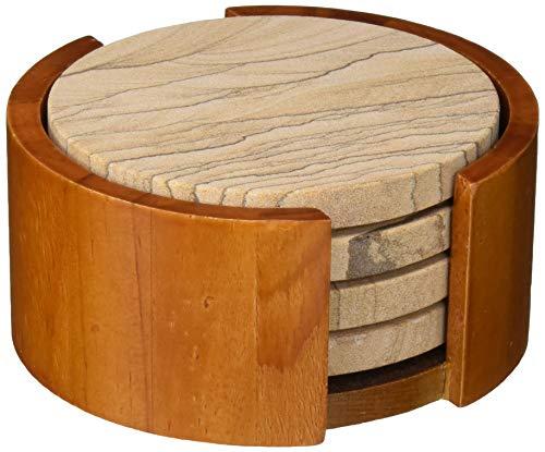 Thirstystone Sandstone Wood Absorbent Coaster 4 inch round Desert Sand wHolder